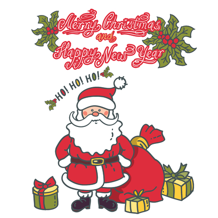 Santa Claus Cartoon Character with gifts and bag. Design for Christmas and New Year with text