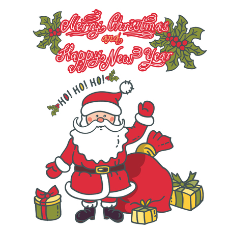 Santa Claus Cartoon Character with gifts and bag. Design with the inscription Merry Christmas and Happy New Year