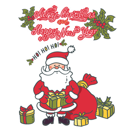 Santa Claus with a gift in hand and a lot of boxes around. Christmas and New Year greeting design
