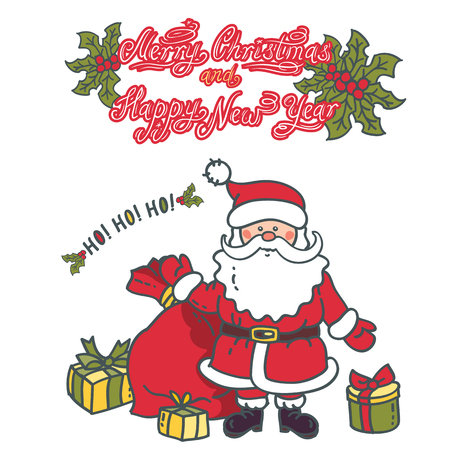 Santa Claus with bag and gifts. Illustration greeting card with text: Merry Christmas and Happy New Year