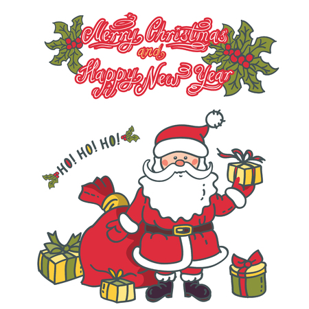 Santa Claus gives gifts. Design greeting card with the text: Merry Christmas and Happy New Year