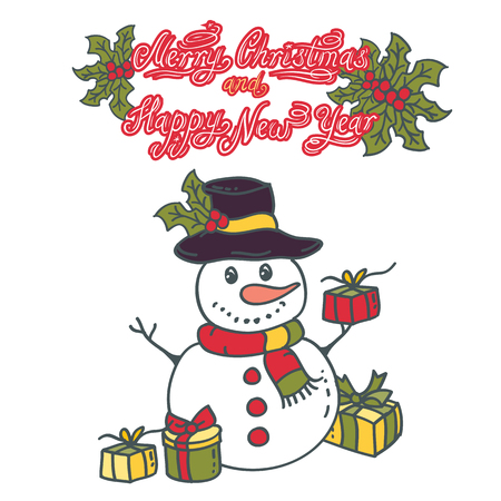 Snowman with gifts vector illustration on white background