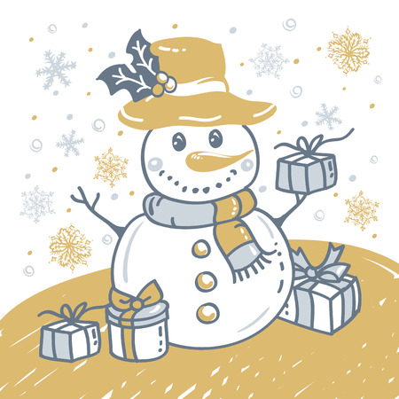 Christmas hand drawn card with Christmas snowman, snowflakes and gift box