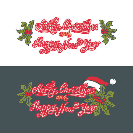 Merry Christmas and Happy New Year. HolidayVector version Illustration. Lettering Composition. Set of two ways for writing on white and coloured background Иллюстрация
