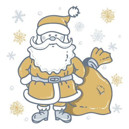 Santa Claus Cartoon Character with bag on the background of snowflakes in gold - silver tones. Design for Christmas and New Year