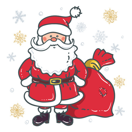 Santa Claus Cartoon Character with bag on the background of snowflakes on a white background. Design for Christmas and New Year. Иллюстрация