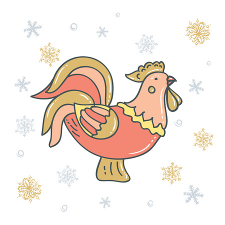 Decorative rooster with snowflakes. Chicken graphic Design Иллюстрация