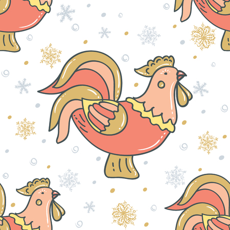 Decorative rooster with snowflakes