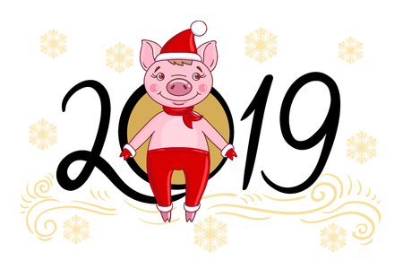 Cartoon character pig in a red hat and a scarf, against the background of snowflakes and inscription 2019 of the coming new year