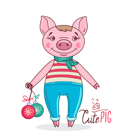 Little cute pig in cartoon style holding Christmas balls in his hand. Hand drawn style vector design illustration