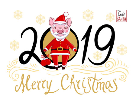 Piglet in the role of Santa Claus in a festive attire, which holds in his hand Christmas balls. On a white background text 2019 and snowflakes with the inscription Merry Christmas