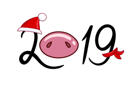 The inscription 2019 with a pig nose in a hat and a scarf. Hand drawn style vector design for illustration.