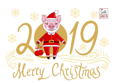 Piglet in the role of Santa Claus in a festive attire, which holds in his hand Christmas balls. On a white background text 2019 and snowflakes below with the inscription Merry Christmas