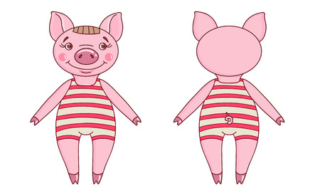 Pig wearing a leotard in a cartoon style. Front and back view. Hand drawn style vector design for illustration  イラスト・ベクター素材