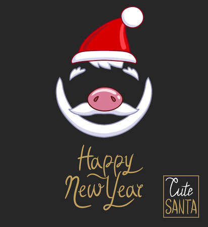 Santa Claus hat, piggy nose, beard and mustache with the inscription Happy New Year. On a dark background. Hand drawn style vector design for illustration