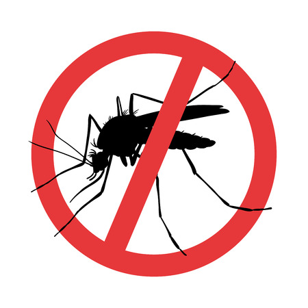 Mosquito. Symbol parasite warning sign. Silhouettes Stock Vector - 114490870