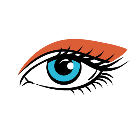 Eye on white background. Eyes art. Woman eye. The eye logo. Eyes art. Human eye, eye close up - vector