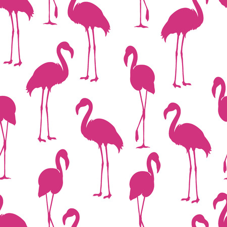 Flamingo isolated Exotic bird silhouette. Pink flamingo seamless pattern in vector version
