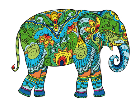 Drawing stylized elephant. Freehand sketch for adult anti stress coloring book for adultpage with doodle elements. Multicolor bright colors