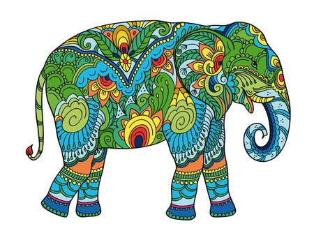 Zeichnung stilisierter Elefant. Freihandskizze für Anti-Stress-Malbuch für Erwachsene für Adultpage mit Doodle-Elementen. Mehrfarbige helle Farben