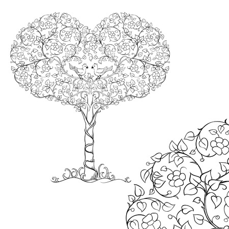 A pair of birds in the crown of the heart tree. Sketch for adult antistress coloring page. Elements for coloring book