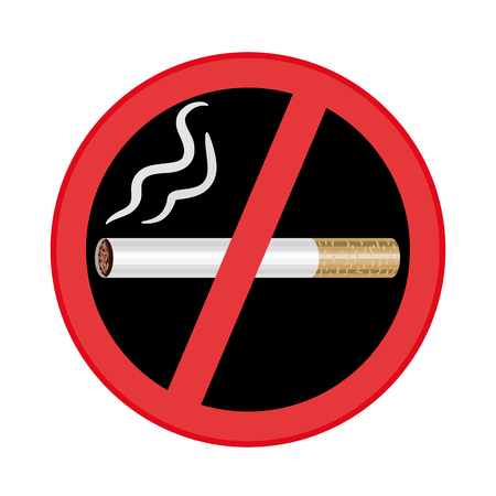 No smoking sign on black background. Vector illustration  イラスト・ベクター素材