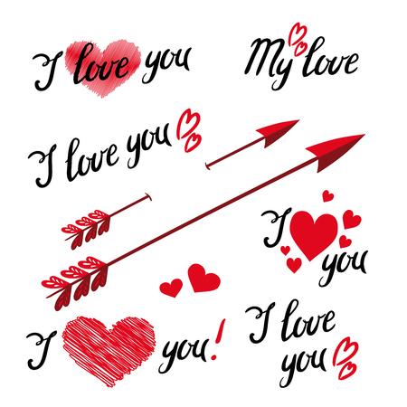 Satz von I Love You Hand Schriftzug und Elementen mit dekorativen Ornamenten, Herzen und Pfeil. Designobjekte zum Valentinstag Vektorgrafik