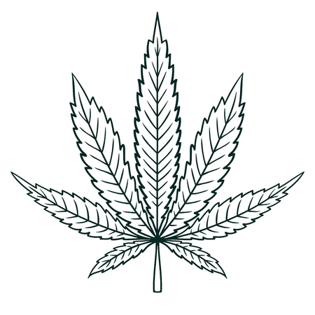 Cannabis (Marijuana) Leaf in Flat Vintage Style. Contour image sheet