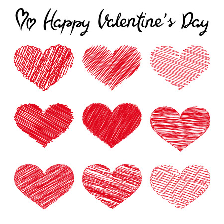 Happy Valentines Day lettering and doodle hearts on white background, vector illustration Иллюстрация