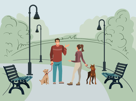 Young people, man and woman, walk in the park with their dogs in the morning. Vector illustration of people with pets in the street Illustration