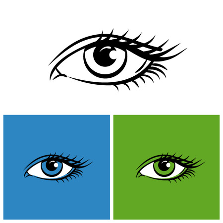 Eyes isolated on white, bright green and blue background. vector illustration