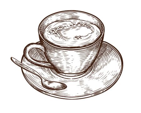 Tasse dessinée à la main (tasse) de boisson chaude (café, thé, etc.). Coupe isolée sur fond blanc. tasse à thé, vecteur de tasse à café Vecteurs