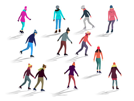 Crowd of people skating on ice rink outdoor activities. Group of male and female flat cartoon characters isolated on white background. Hand drawn style vector design illustrations Иллюстрация