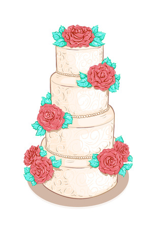 White layered wedding cake with flowers (roses)  isolated on white background