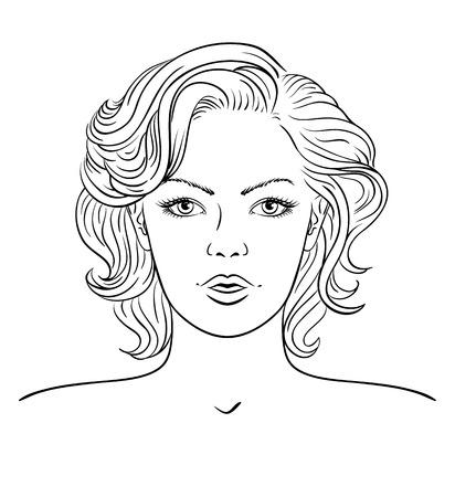 Young woman face. Fashion hairstyle Illusztráció