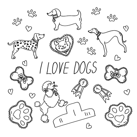 Dog breeds. Set with the inscription I love dogs. Icons isolated on white background in flat style. Contour images