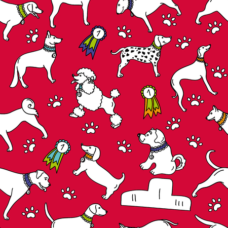 Seamless breeds dog pattern isolated on red background - design for wrapping paper