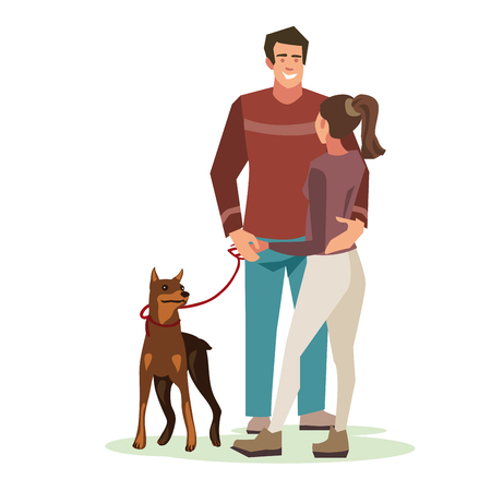 Young people (guy with a dog and girl talking) stood in a friendly hug. Illustration of people with pets isolated on white background. Bright design Illustration