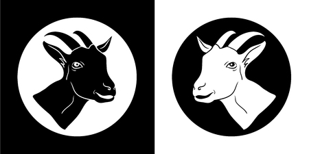 Goat. Goat head. Goat isolated, black silhouettes of the head Imagens - 115607857