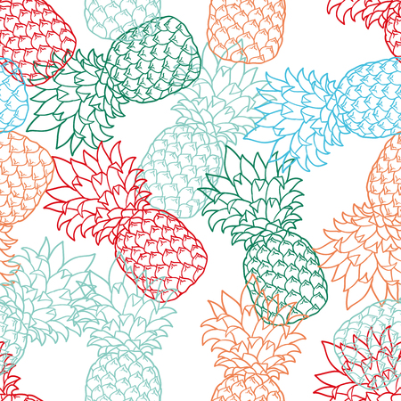 Seamless Pattern with Pineapples color, contour. Pineapple on white background Иллюстрация