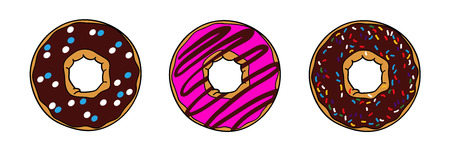 Donuts with brown chocolate and pink glaze. Donuts with powder. Donut set isolated on a white background. Vector picture with donut Иллюстрация