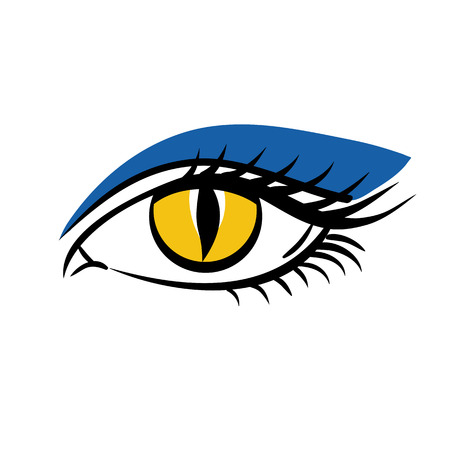 Eye on white background. Eyes art, eye icon, human eye, cartoon eyes. The eye logo. Eyes art. Makeup on Halloween. Woman eye. Human eye, eye close up - vector Иллюстрация
