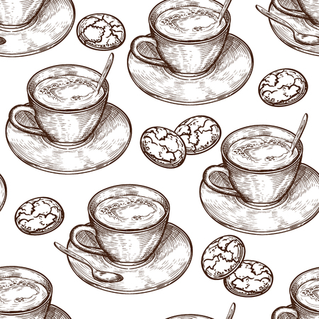 Hand Drawn food seamless pattern, Cup (mug) of hot drink (coffee, tea etc), oat cookies