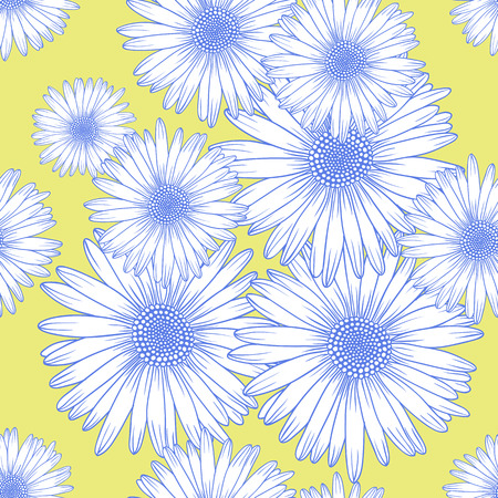 Seamless background pattern with chamomile flowers, flat lay