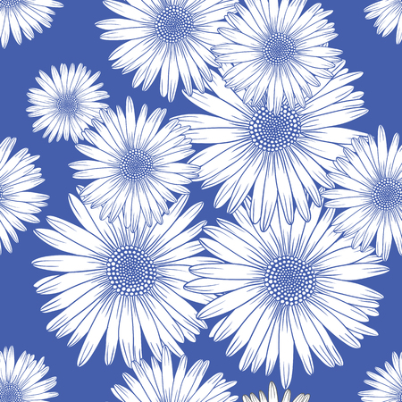 Seamless pattern with chamomile, decorative background Иллюстрация