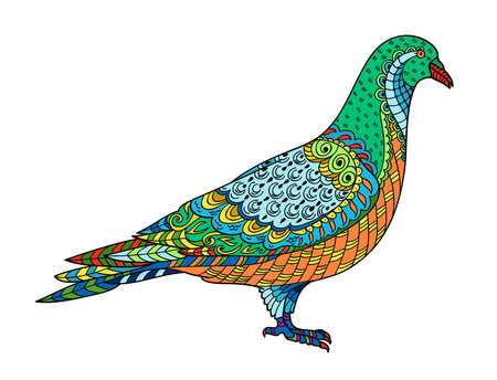 Drawing stylized dove (pigeon). Freehand sketch for adult anti stress coloring book for adult page with doodle and elements. Multicolor bright colors