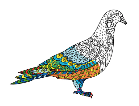 Drawing stylized dove (pigeon). Freehand sketch for adult anti stress coloring book for adult page with doodle and elements. With sample coloring