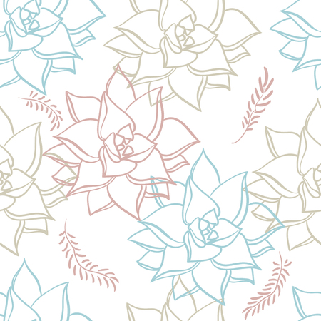 Succulent. Hand drawn seamless pattern plants on white background. Floral texture Иллюстрация
