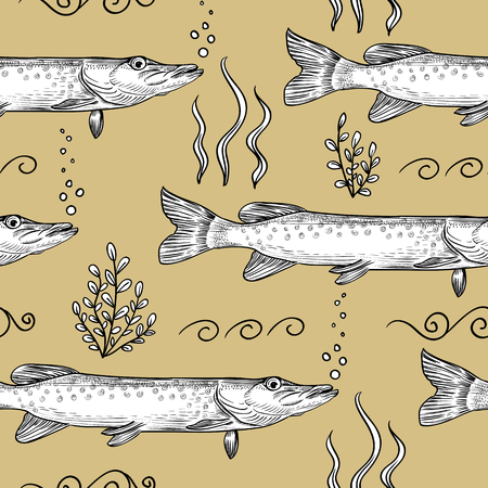 Pike. Seamless pattern of pike. Hand drawn sketch illustration Иллюстрация
