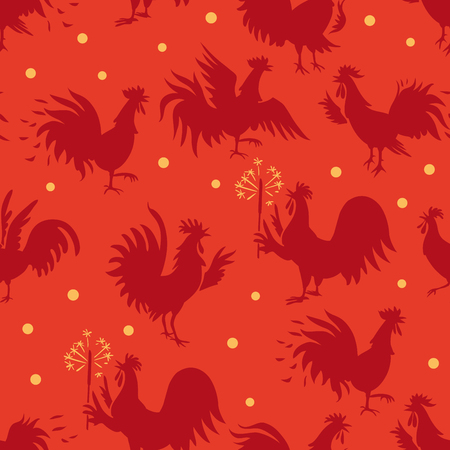 Seamless pattern with roosters in different poses. Silhouettes on red background. Poultry background, chicken pattern